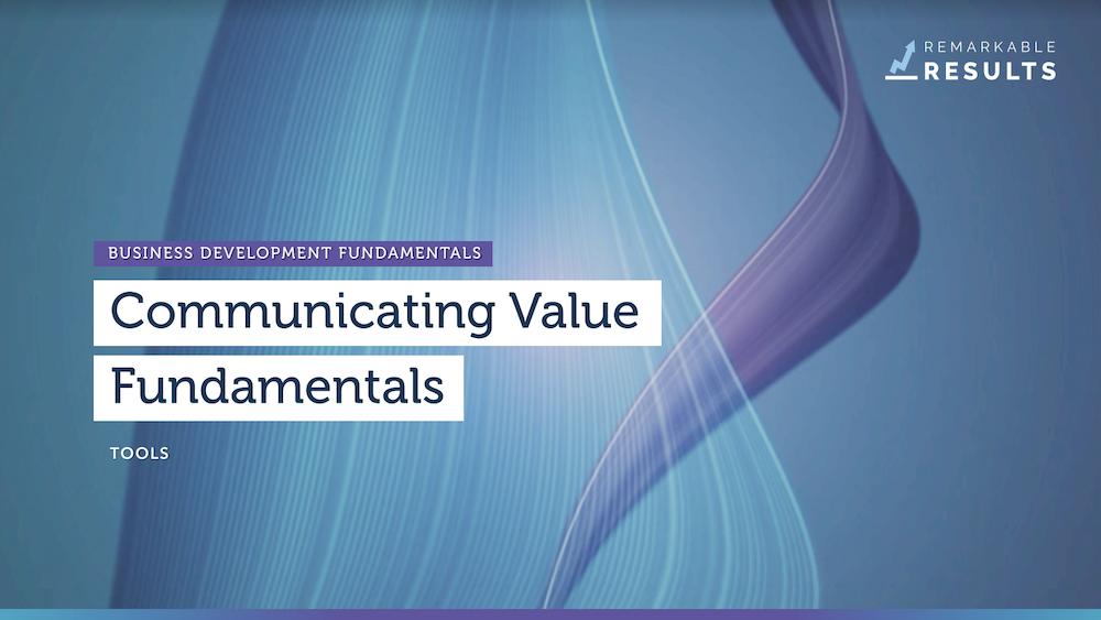 Communicating Value Fundamentals tools